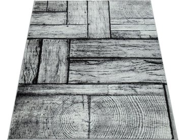 Paco Home Teppich »Sinai 079«, rechteckig, Höhe 16 mm, moderner Kurzflor mit Holz-Optik, grau, 16 mm, grau
