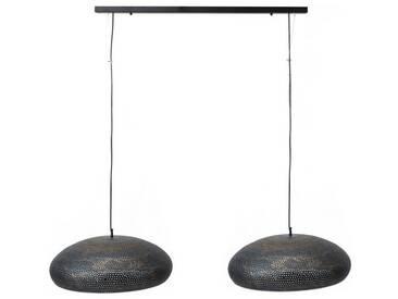 SalesFever Hängeleuchte 2 Lampenschirme Punsch Oval »Tara«, schwarz, schwarz-braun