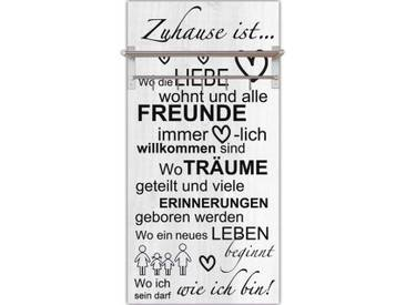 Artland Wandgarderobe »Jule: Wo die Liebe wohnt«, grau, 120 x 60 x 2,8 cm, Grau