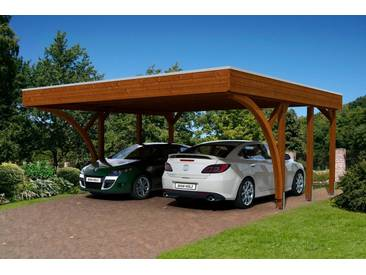Skanholz SKANHOLZ Set: Doppelcarport »Friesland 8«, BxT: 557x555 cm, nussbaum, braun, 469 cm, braun