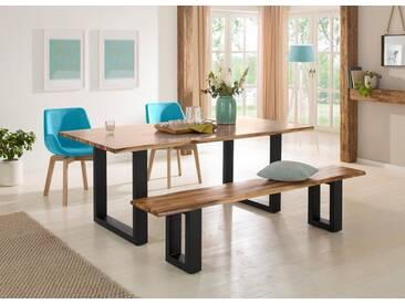 Home affaire Sitzbank »Melody« aus massivem Akazienholz mit einer naturbelassenen Baumkanten-Sitzplatte, natur, 180/38/45 cm, Füße: schwarz