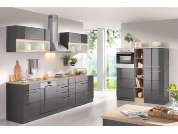 HELD MÖBEL Küchenzeile mit E-Geräten, Breite 440 cm, grau, ohne Aufbauservice, grau