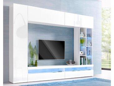 Tecnos Media-Wand (4-tlg.), weiß, weiß/weiß Hochglanz