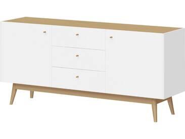 SCHÖNER WOHNEN-KOLLEKTION Schöner Wohnen Sideboard »Monteo«, Breite 160 cm, weiß, Weiß/Kendal-Eiche-Nb.