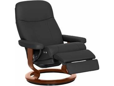 Stressless® Relaxsessel »Garda« mit Classic Base und LegComfort™, Größe M, mit Schlaffunktion, schwarz, Fuß braun, dark black
