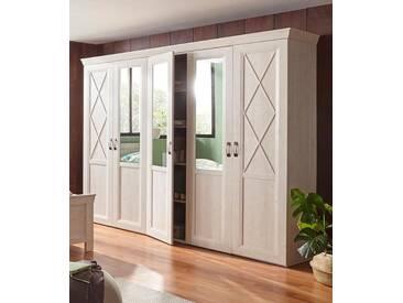 FORTE Kleiderschrank »Kashmir« mit Spiegelauflagen, weiß, Breite 255 cm, Pinie weiß