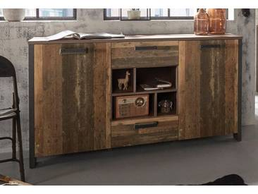 FORTE MÖBEL FORTE Sideboard »Clif«, Breite 156,4 cm, grau, Old Wood Vintage/ Beton-Optik