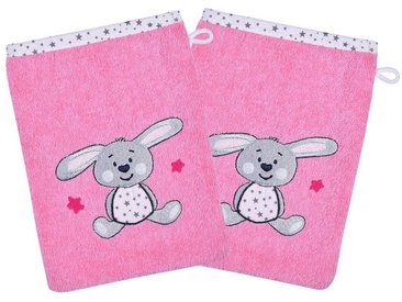 Wörner Waschhandschuh 2er Set, Hase, pink, 15 x 21 cm
