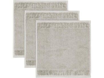 Möve Waschlappen »MÖVE Bamboo Luxe 3er Set Waschhandschuh« (3-tlg), mit seidig glänzenden Bordüren, grau, silbergrau