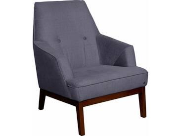 TOM TAILOR Sessel »COZY«, im Retrolook, mit Kedernaht und Knöpfung, Füße nussbaumfarben, lila, prune TUS 18