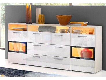 TRENDMANUFAKTUR Sideboard, Breite 182 cm, weiß, weiß/weiß Hochglanz