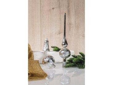 HGD Holz-Glas-Design Glaskugelsortiment Dekor 39teilig, silberfarben, Silber