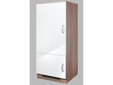 wiho Küchen Wiho Küchen Kühlumbauschrank »Porto«, Höhe 145 cm, weiß, eichefarben trüffel/weiß glanz