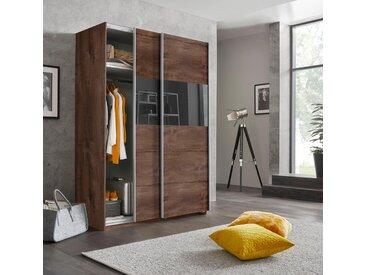 Wimex Schwebetürenschrank »Bramfeld« mit Glaselementen und zusätzlichen Einlegeböden, braun, Höhe: 198 cm, Breite: 135 cm