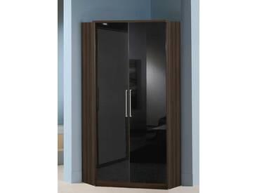 Wimex Eckkleiderschrank »Greven«, braun, ohne Spiegel, Columbia nussbaumfarben/Hochglanz schwarz