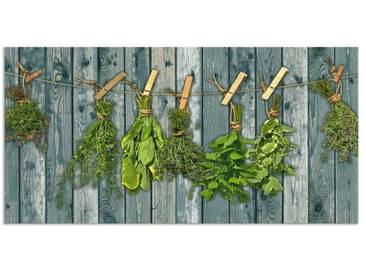 Artland Küchenrückwände »Team 5: Kräuter mit Holzoptik«, grün, 60x120 cm, Grün
