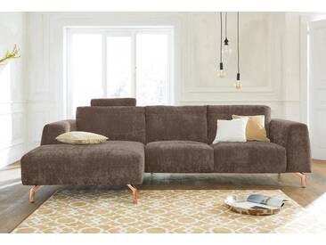 Guido Maria Kretschmer Home&Living GMK Home & Living Polsterecke »Logge«, natur, Recamiere links, mit Messingfüßen, sand
