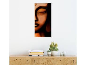 Posterlounge Wandbild - Christine Ganz »Buddha Stille«, schwarz, Holzbild, 80 x 160 cm, schwarz