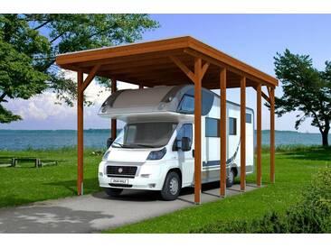 Skanholz SKANHOLZ Einzelcarport »Friesland«, BxT: 397x708 cm, für Caravan, braun, 708 cm, nussbaum