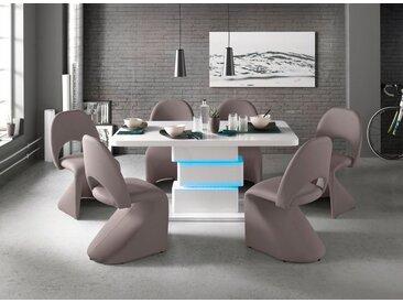 Homexperts Säulen-Esstisch, mit LED-Beleuchtung, Breite 140 oder 160 cm, weiß, Breite 160 cm, weiß