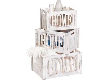 Zeller Present Zeller Aufbewahrungs-Kiste »Home«, Holz, weiß, Maße(B/T/H):(35/25/20), weiß