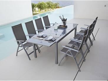 MERXX Gartenstuhl »Amalfi«, (2er Set), Alu/Textil, verstellbar, braun, 2 Stühle, taupe