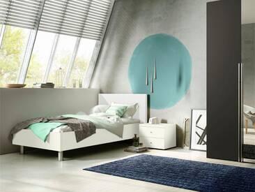 now! by hülsta Bett »now! time« mit Polsterkopfteil in Kunstleder weiß oder grau, weiß, Kopfteil weiß