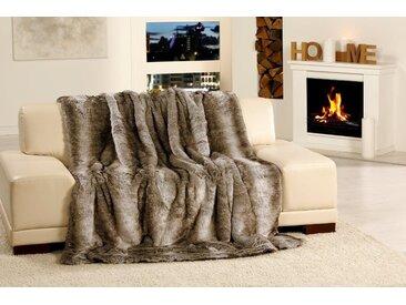 Gözze Wohndecke »Kodiakbär Felloptik«, zum Einkuscheln, grau, Kunstfaser, grau-braun
