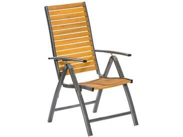 MERXX Gartensessel »Santorin«, Eukalyptusholz/Aluminium, klappbar, braun, braun, 1 Stuhl, braun