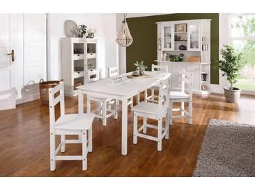Home affaire Essgruppenset »Indra«, Tisch 160 cm breit, weiß, ohne Verlängerungsplatte, weiß