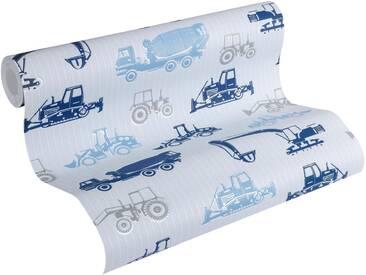 Esprit Vliestapete, »strukturierte Kids Tapete Tractors«, bunt, blau;grau;metallic