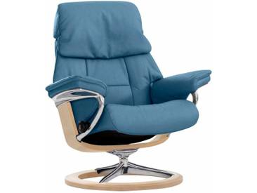 Stressless® Relaxsessel »Ruby« mit Signature Base, Größe M, mit Schlaffunktion, blau, Fuß naturfarben, sparrow blue