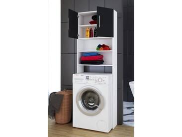 VCM Waschmaschinen - Überbauschrank Jutas, Weiß / Schwarz