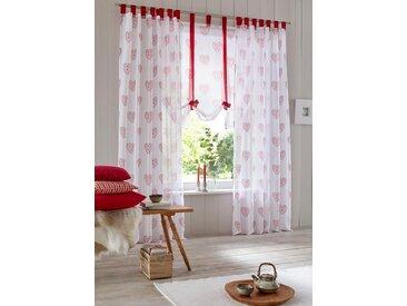 Home affaire Raffrollo »Meduno«, mit Schlaufen, weiß, weiß-rot