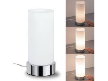 Paulmann Nachttischlampe »Pinja mit Touchdimmer Chrom Opal Metall Glas max. 40W E14«, 1-flammig, silberfarben, 1 -flg. /, chromfarben