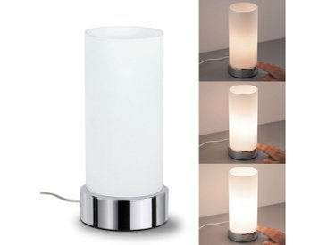 Paulmann Nachttischlampe »Pinja mit Touchdimmer Chrom Opal Metall Glas max. 40W E14«, silberfarben, Ø11 cm / H:24 cm, chromfarben