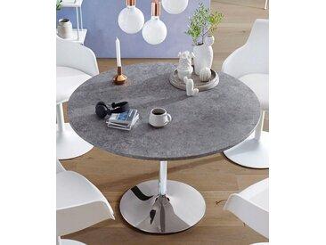 Esstisch, Durchmesser 110 cm, weiß, Zement-Optik