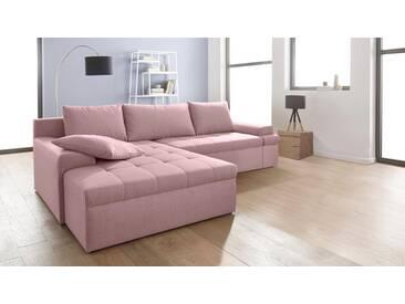 INOSIGN Ecksofa »Carina«, XXL, rosa, 288 cm, Recamiere links, altrosa