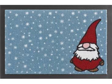 HANSE Home Fußmatte »Weihnachtswichtel«, rechteckig, Höhe 7 mm, rutschhemmend beschichtet, blau, 7 mm, blau-rot