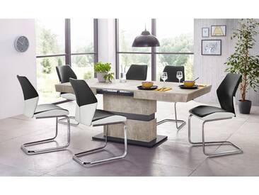 Steinhoff STEINHOFF Essgruppe »Snap04 und Marley Az«, 5-teilig, weiß, ohne Aufbauservice, Tisch-Breite 140, ausziehbar, Beton-Optik/schwarz/weiß