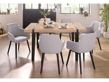 Essgruppe »Sanchez und Bradford«, 5-teilig mit Tisch, Breite 150 cm, braun, ohne Aufbauservice, eichefarben sägerau/Hellgrau
