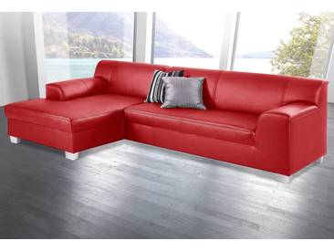 DOMO collection Ecksofa, auch mit Bettfunktion, rot, 273 cm, Recamiere links, rot