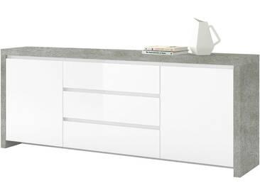 HMW Kommode »Lario«, Breite 190 cm, grau, betonfarben/weiß Hochglanz