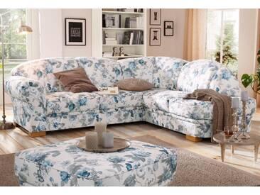Home affaire Ecksofa »Amrum«, mit Blumenmuster, blau, 249 cm, Ottomane rechts, blau