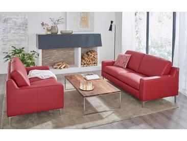 W.SCHILLIG 3-Sitzer Ledersofa »lazy«, rot, ruby red