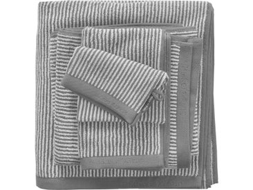 Marc O'Polo Home Badetuch »Timeless Tone Stripe«, mit Logostickerei, grau, Walkfrottee, grey