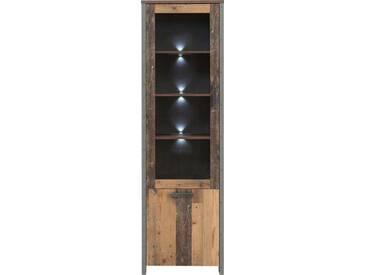 FORTE Vitrine »CLIF«, Höhe 204,7 cm, natur, Old Wood Vintage/ Beton-Optik