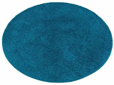 my home Hochflor-Teppich »Bodrum«, rund, Höhe 30 mm, blau, 30 mm, petrol