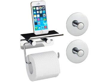 WENKO Toilettenpapierhalter »Smart«, mit Smartphone-Ablage, inkl. 2 Turbo-Loc-Haken, silberfarben, silber glänzend