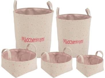 Franz Müller Flechtwaren Aufbewahrungsbox »Kids - Mädchenkram!« (Set, 5 Stück), faltbar, rosa, 2025303540x1012144248 cm, beige-rosa